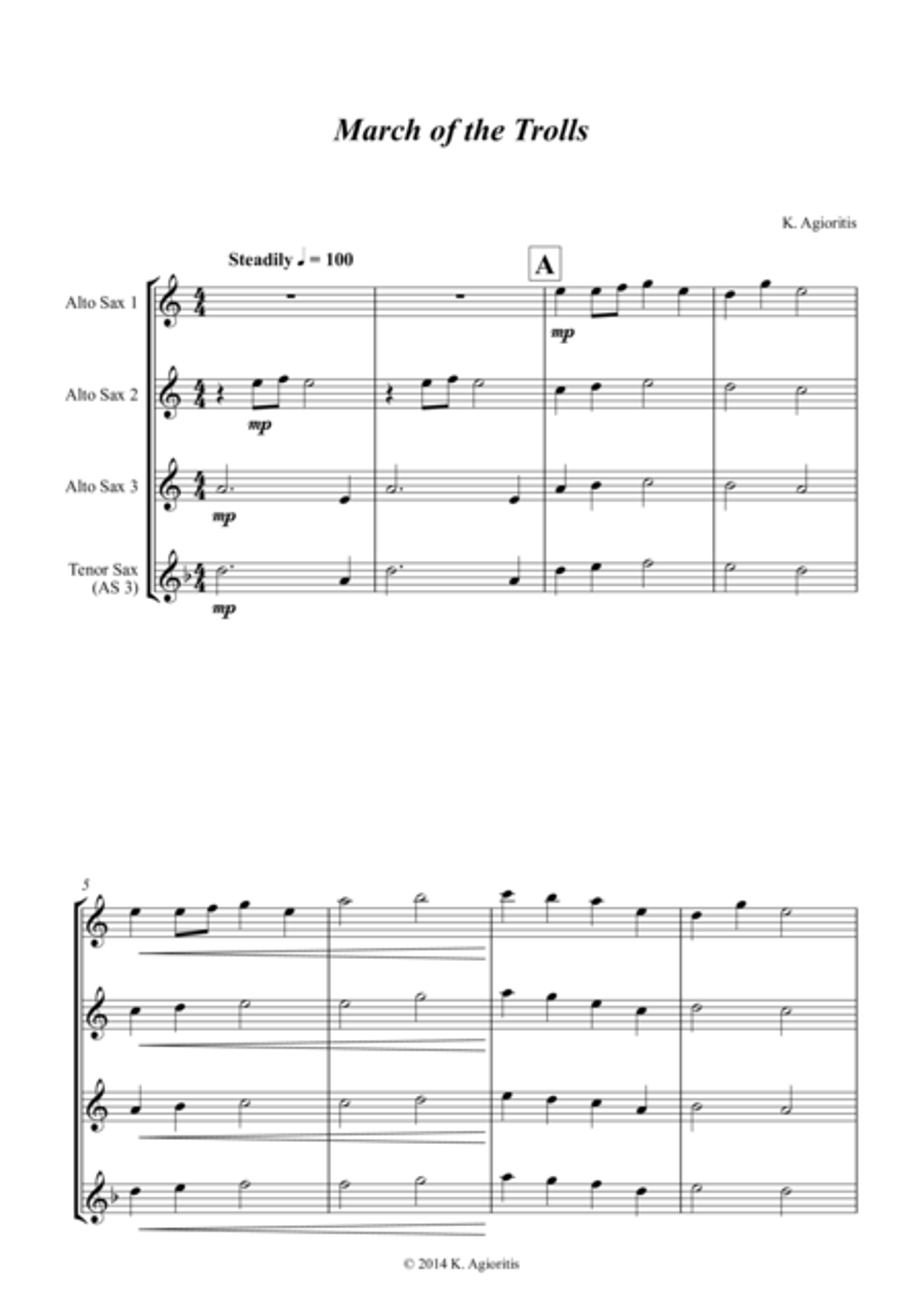 March of the Trolls - Saxophone Trio