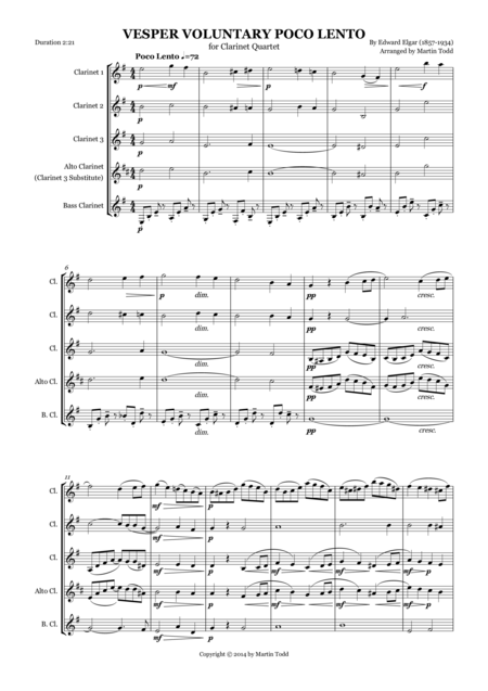 Poco Lento for Clarinet Quartet