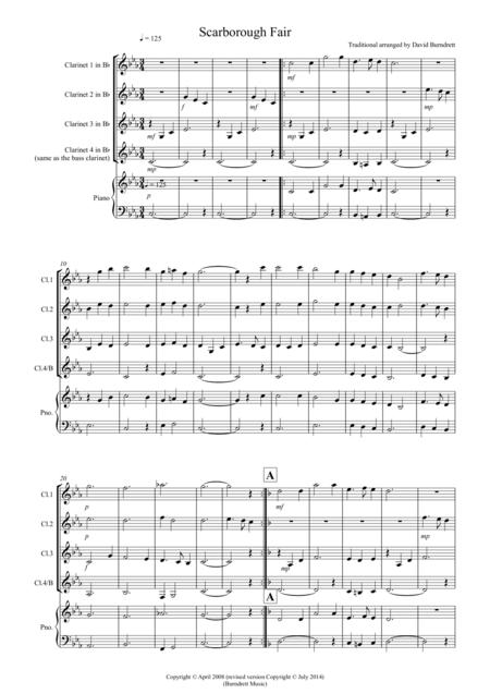 Scarborough Fair for Clarinet Quartet