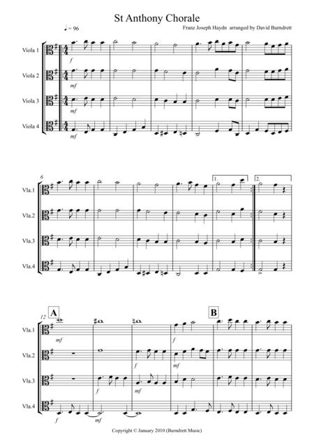 St Anthony Chorale for Viola Quartet
