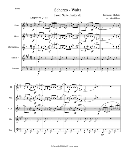 Chabrier - wind quintet - Scherzo from Suite Pastorale