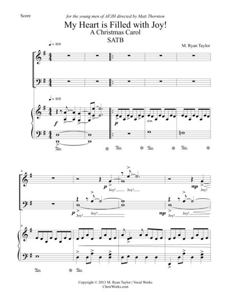 My Heart is Filled with Joy : a Christmas Carol for SATB Choir & Piano