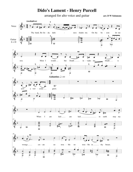 Dido's Lament (When I am laid in Earth) (Alto and classical guitar)