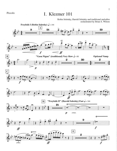 Klezmer Concerto for Clarinet and Wind Orchestra  (parts - piccolo, flute, double reeds and clarinets)