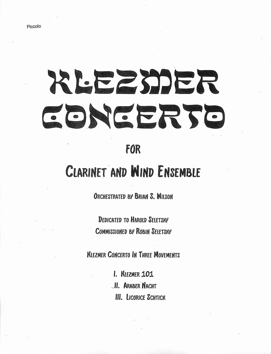 Klezmer Concerto for Clarinet and Wind Orchestra  (parts - low brass and percussion)