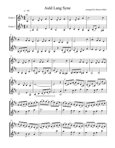 Auld Lang Syne for violin duet