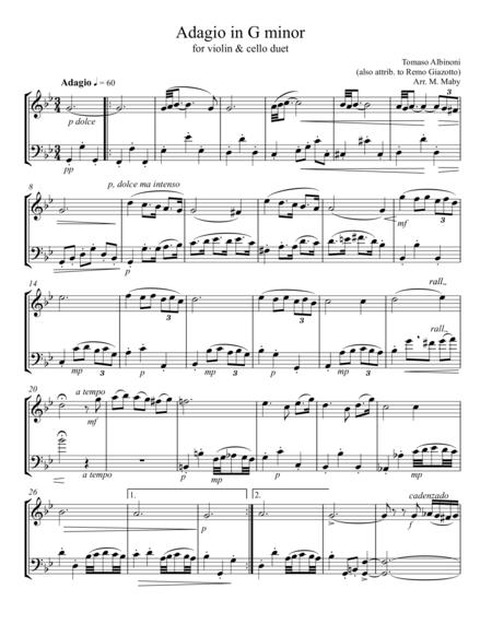 Albinoni Adagio for violin & cello duet