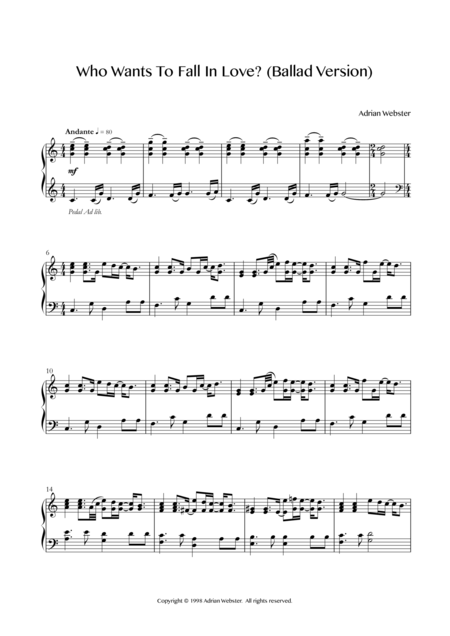 Who Wants To Fall In Love? (Ballad Version) - CrusaderBeach - Beautiful Piano Solo for Wedding
