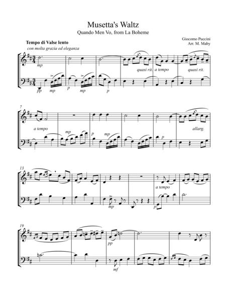 Musetta's Waltz from La Boheme, for violin and cello duet