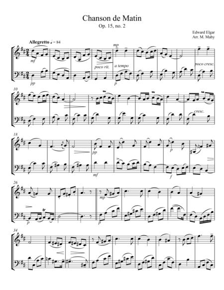 Chanson de Matin for violin and cello duet
