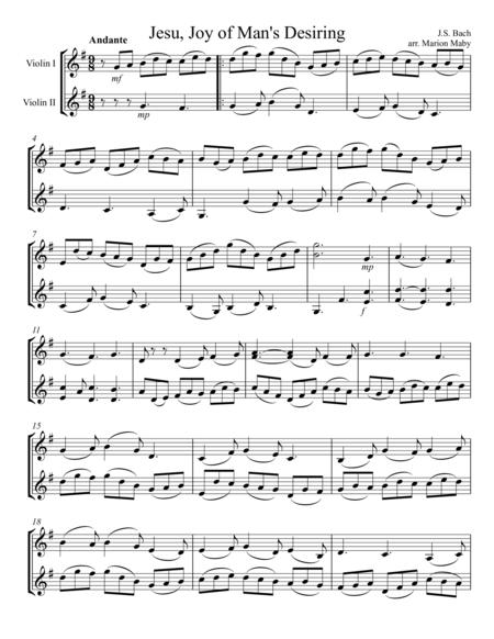 Jesu, Joy of Man's Desiring, for violin duet