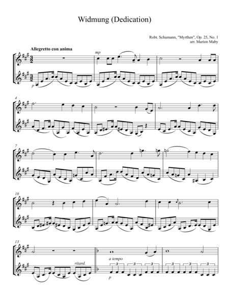 Widmung (Dedication) arr. for violin duet