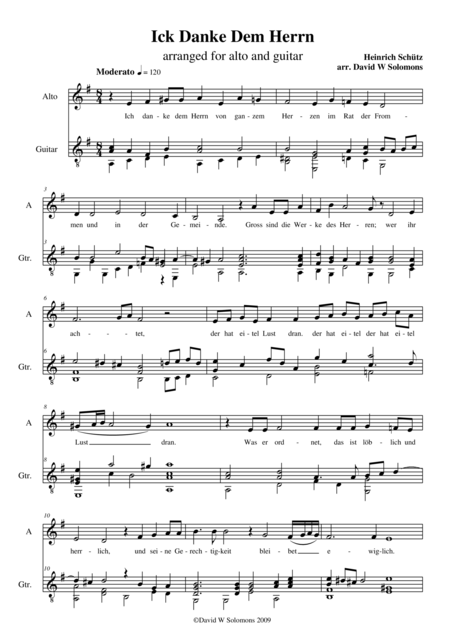 Ich danke dem Herrn (alto or baritone and classical guitar)