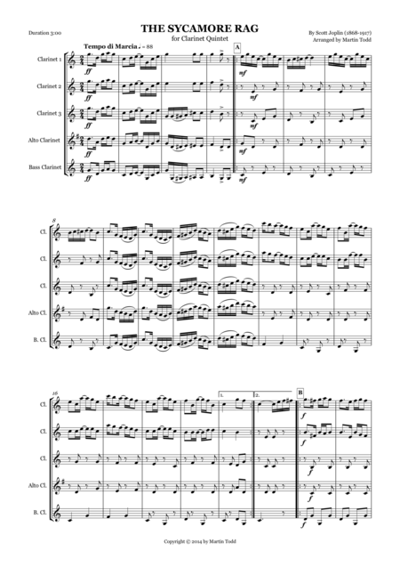 The Sycamore Rag for Clarinet Quintet