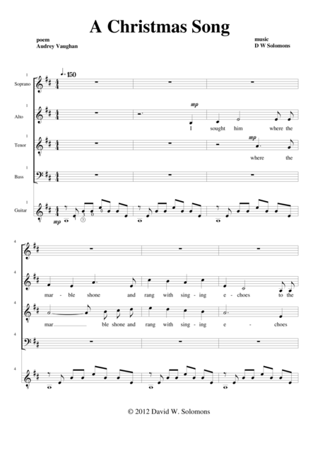 Christmas Song (SATB choir and guitar)