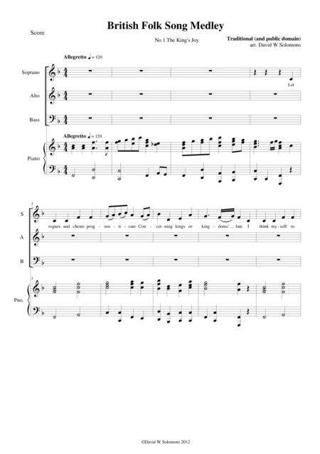 9 British folksongs for SAB choir and piano