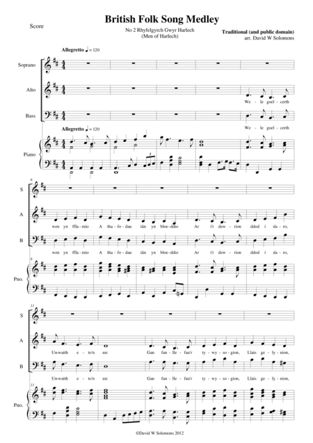 Rhyfelgyrch Gwyr Harlech for SAB choir and piano