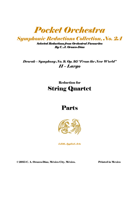 Dvorak - Largo from Symphony No. 9, Op. 95 - Arrangement for String Quartet (PARTS)