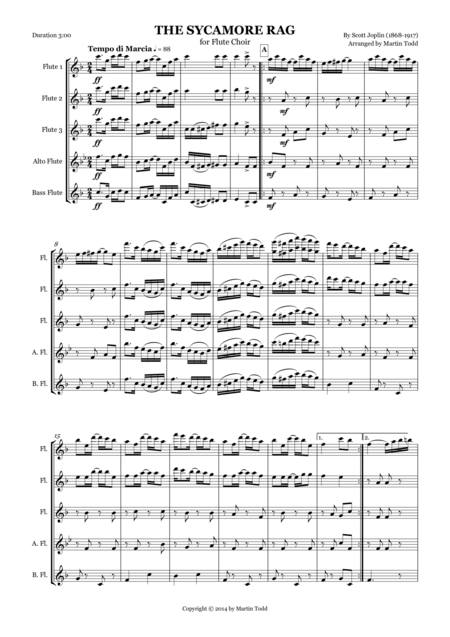 The Sycamore Rag for Flute Choir or Quintet