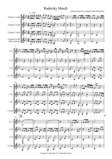 Radetzky March for Clarinet Quartet