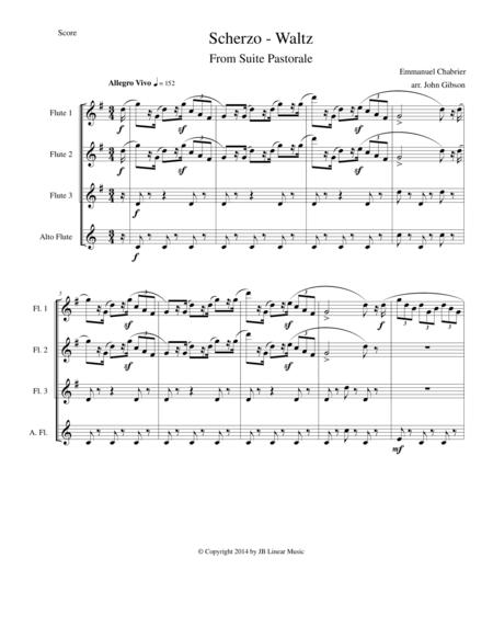Chabrier - flute quartet - Scherzo from Suite Pastorale