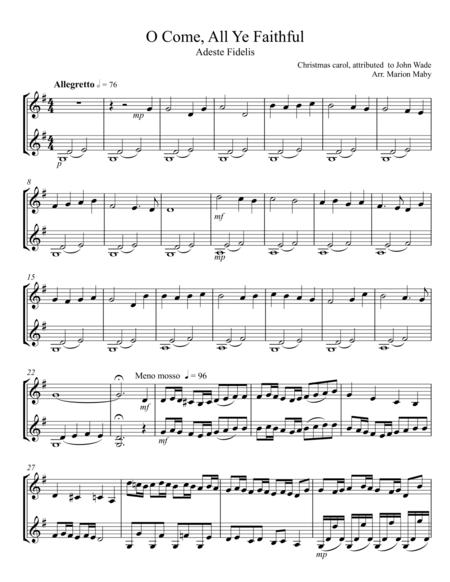 O Come All Ye Faithful violin duet