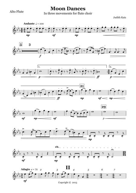 Moon Dances - for flute choir - Parts