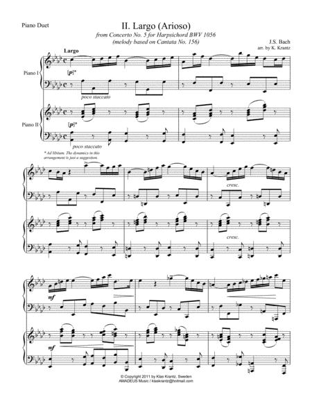 Largo / Arioso, BWV 1056 for piano duet