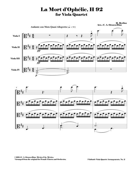 Berlioz - La Mort d'Ophelie, H. 92 - Viola Quartet Arrangement (SCORE AND PARTS)