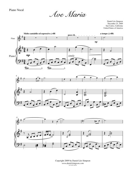 Ave Maria for Flute & Piano