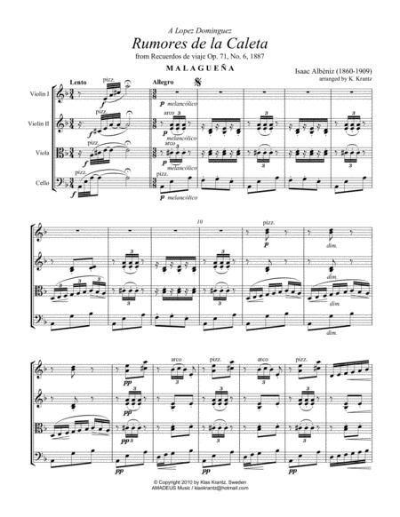 Rumores de la Caleta, Op. 71 for string quartet
