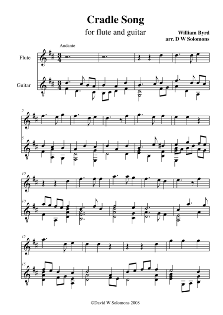 Byrd's Cradle song for flute and guitar