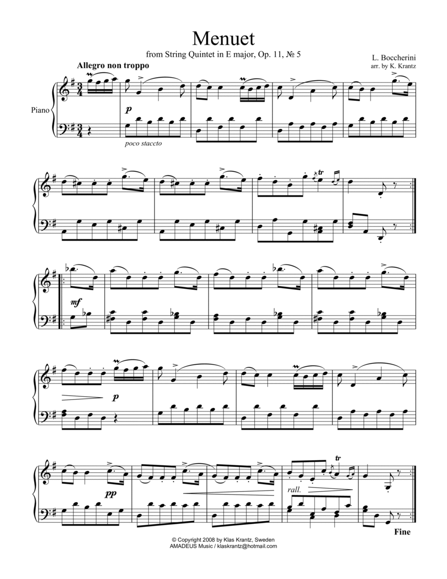 Famous Menuet for easy piano solo