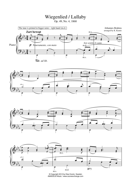 Lullaby Op. 49 No. 2 for piano solo