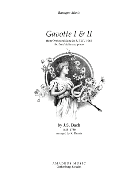 Gavotte 1 & 2 from Suite No. 3, BWV 1068 for flute or violin and piano