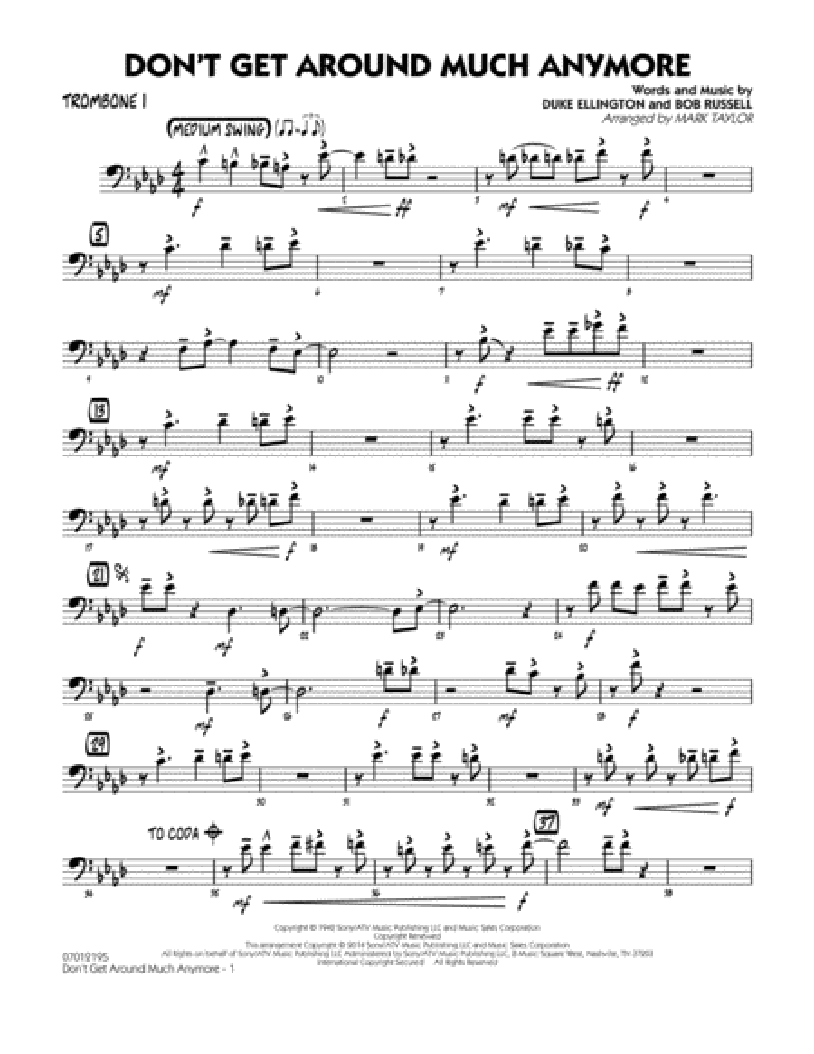 Don't Get Around Much Anymore - Trombone 1