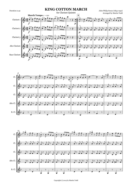 King Cotton March for Clarinet Quintet
