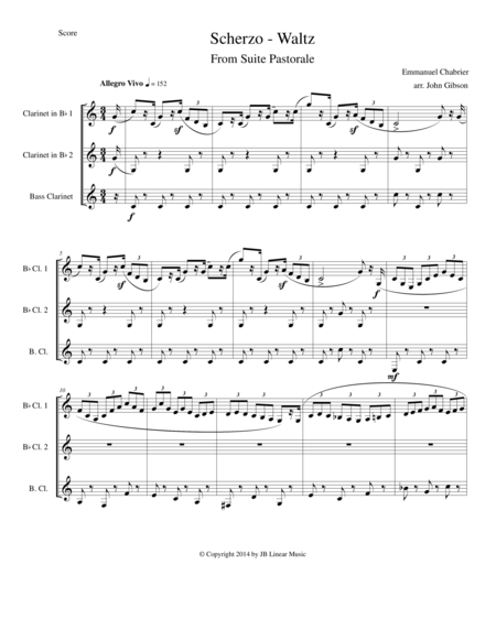 Chabrier - clarinet trio - Scherzo from Suite Pastorale