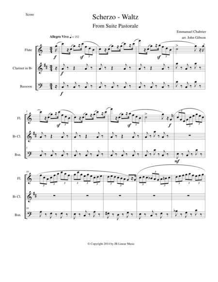 Chabrier - flute clarinet and bassoon trio - Scherzo from Suite Pastorale