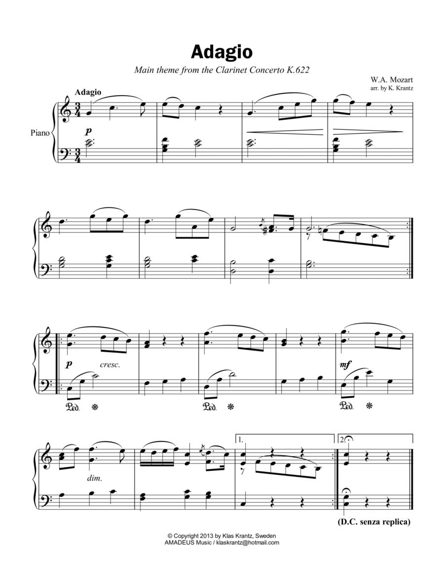 Adagio from the Clarinet Concerto (theme) for easy piano solo
