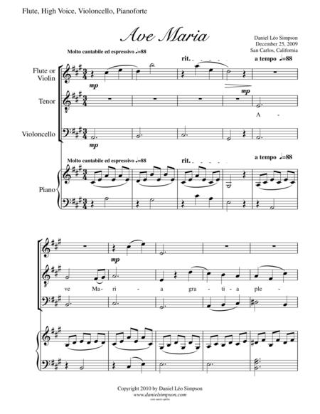Ave Maria for Flute (or Violin), High Voice, Cello & Piano