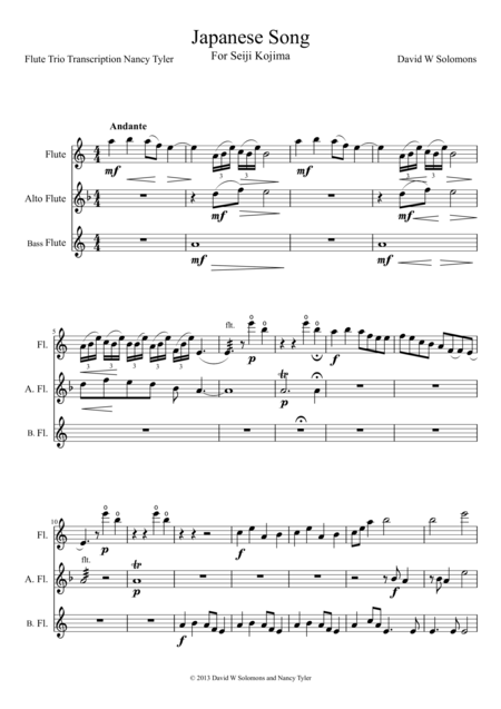 Japanese Song for flute trio (standard, alto and bass flutes)