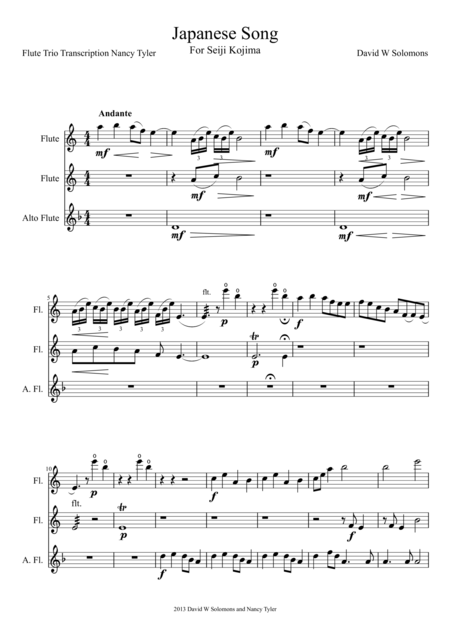 Japanese Song for flute trio (2 standard flutes and 1 alto flute)
