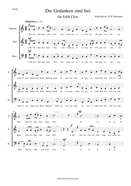 Die Gedanken sind frei (Thoughts are free) for SAB choir