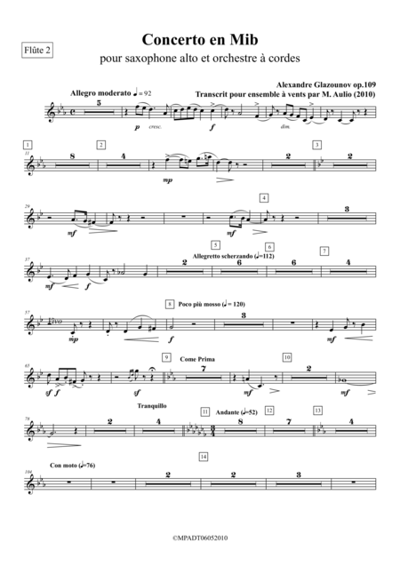 Concerto for Alto Saxophone & Strings Op.109bis, transcribed for wind ensemble - set of parts