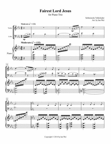 Fairest Lord Jesus for Piano Trio
