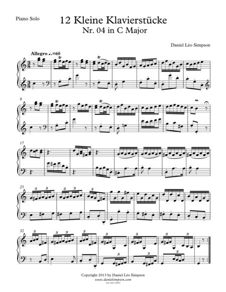 Kleine Klavierstücke Nr. 4 in C Major for Piano solo