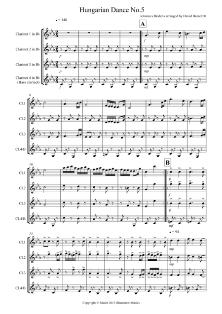 Hungarian Dance No.5 for Clarinet Quartet