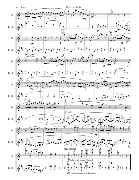 Chabrier - flute and clarinet duet - Scherzo from Suite Pastorale