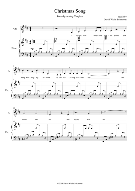 Christmas song (alto or baritone and piano)